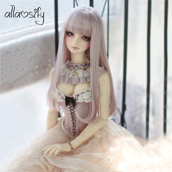 Allaosify 1 PCs straight wig 1/3 1/4 1/6 1/8 bjd doll wig High Temperature Fiber BJD hair free shipping doll accessories 1 3 1 4 1 6 bjd wig doll hair lon straight girl wig multicolour available high wire faux fur wig fb12
