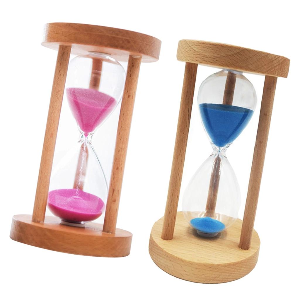 10/15/30 Min Wooden Frame Sandglass Sand Glass Hourglass Timer Clock Table Decor