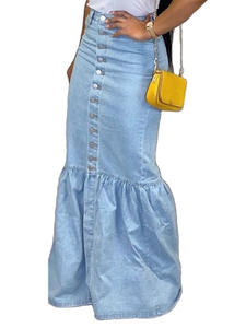 Liooil Maxi Skirts Women Clothing Bodycon Blue High-Waist Winter Denim Fall Streetwear