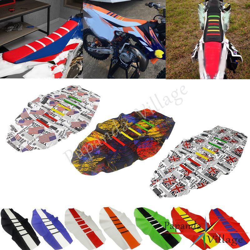 25 bunte Enduro Motocross Custom Rippen Sitz Abdeckung Greifer Traktion Sitz Pad für Honda Kawasaki EXC XCF XR CRF 250 450