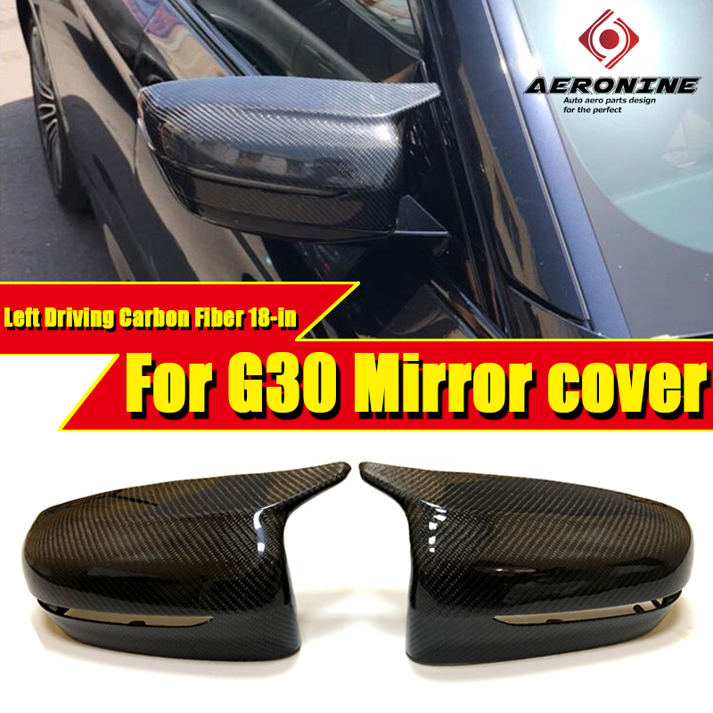 Fits For BMW 5 series 1:1 Replacement <font><b>G30</b></font> Mirror Cover Left Driving Carbon Black <font><b>G30</b></font> <font><b>520i</b></font> 530i 535iGT 540i Side Mirror Wing 18- image