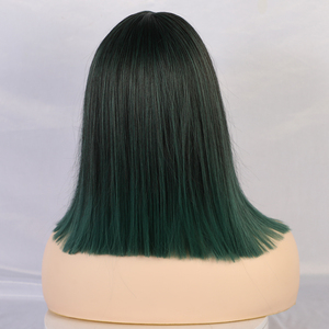Image 3 - ALAN EATON Women Medium Straight Synthetic Wigs High Temperature Hair with Fringe/bangs Mix Green Black Bobo Lolita Cosplay Wig