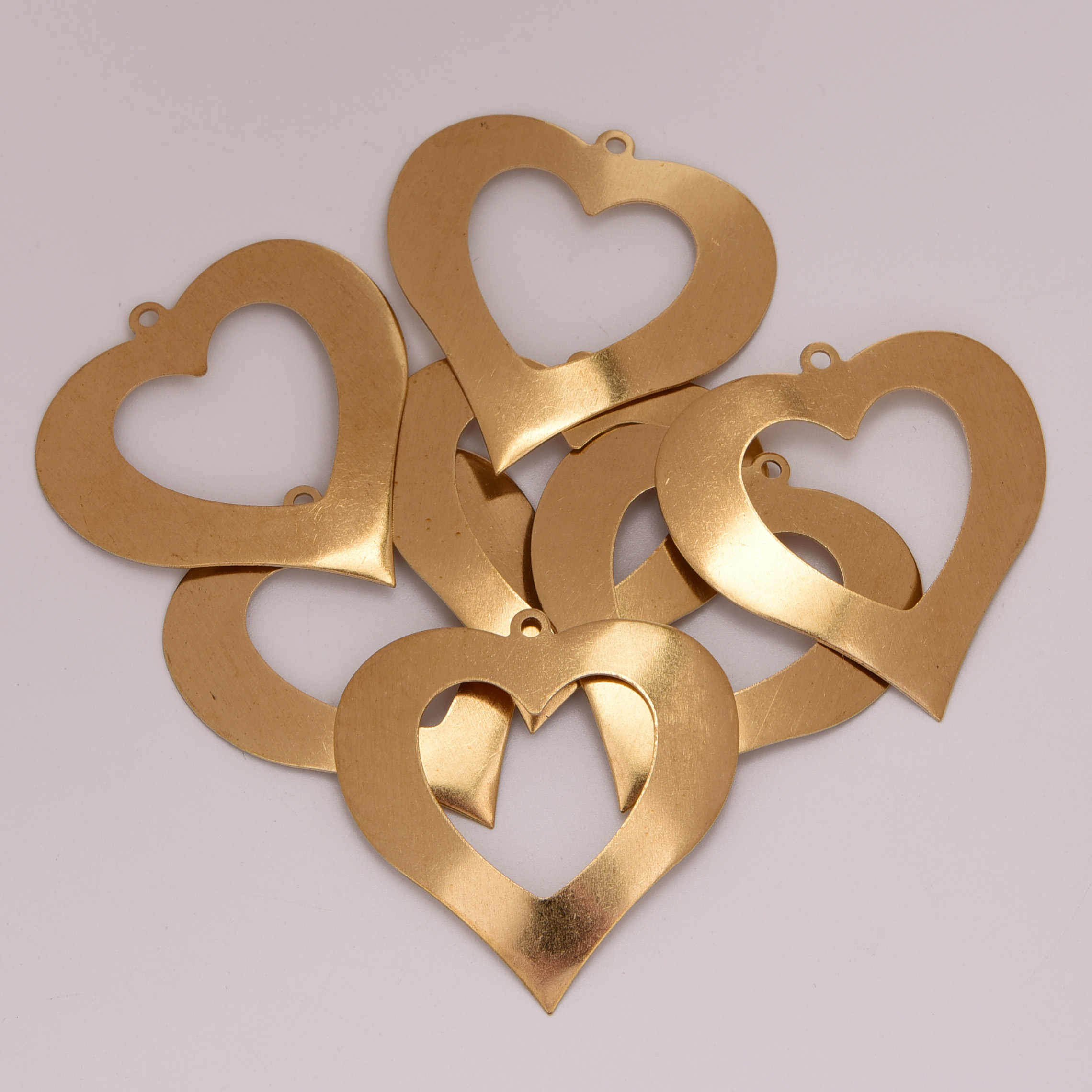 39mm 5pcs Copper Love Contour Heart Charms Family And Friends