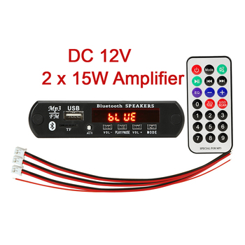 2 x 15W Hands-free MP3 Player Decoder Board 5V 12V Bluetooth 5.0 amplifier Car FM Radio Module Support FM TF USB AUX Recorders image