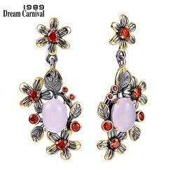 DreamCarnival1989 New Baroque Drop Earrings for Women Pink Opal Orange Zircon Feminine Flower Elegant Engagement Jewelry WE4033