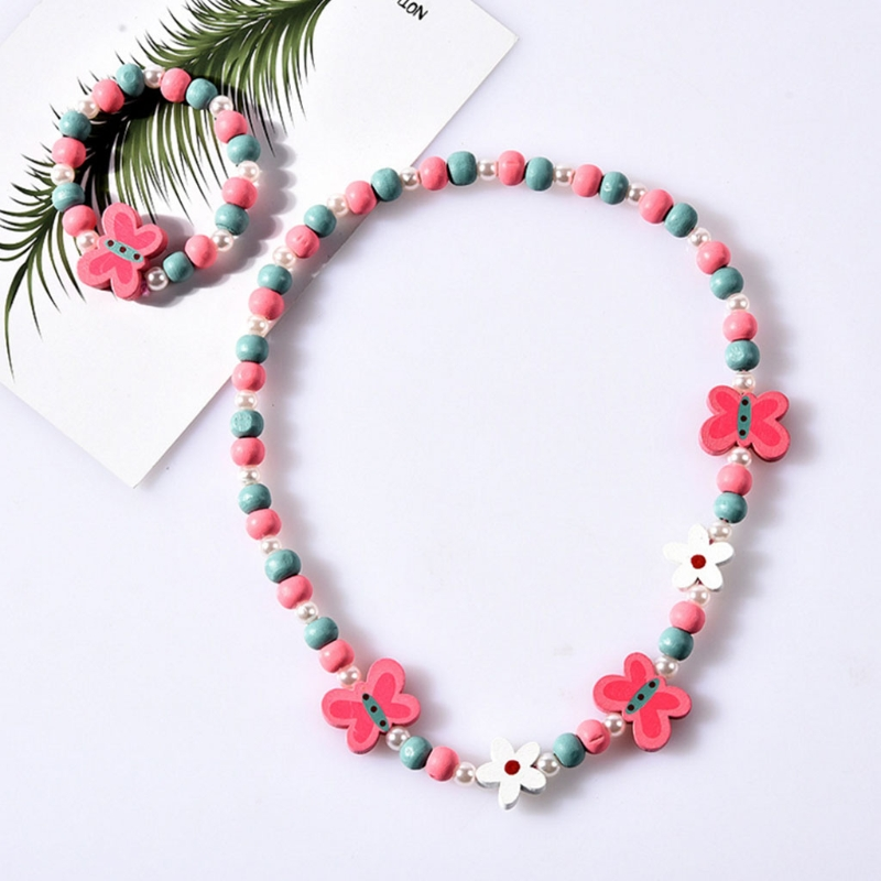 1 Set Children Jewelry Cartoon Necklace Bracelet Kids Candy Color Girls Gifts  634F
