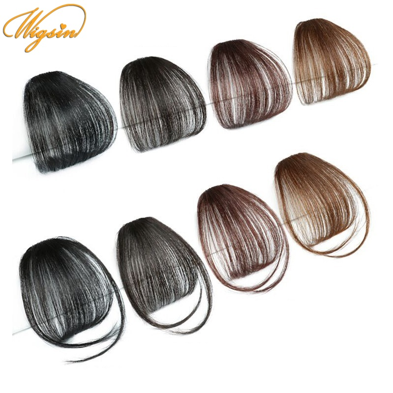 WIGSIN Synthetic Clip In Hair Air Bangs Hairpiece Black Brown Extensions Mini Fake Bangs Hairpiece for Women