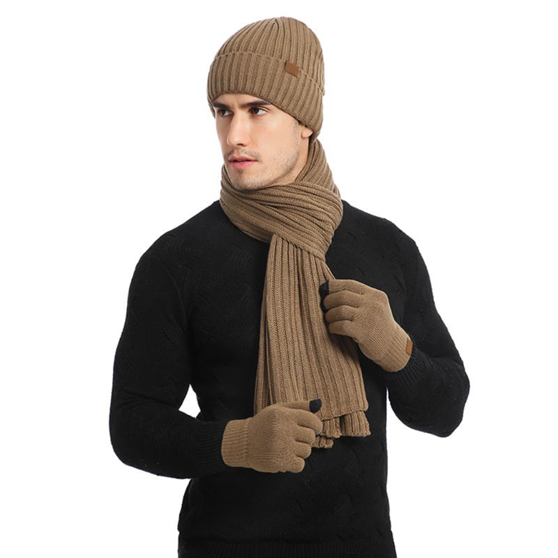 Beanie Hat Scarf Gloves Sets Kit Unisex 3 In 1 Winter Warm Ribbed Knit Long Scarf Touch Screen Gloves