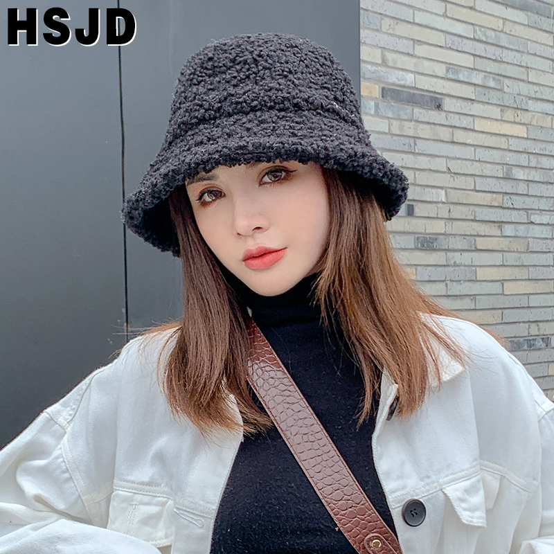Women Hat Solid Color Teddy Velvet Winter Bucket Hat Thick Warm Faux Cashmere Fisherman Hats Female Girl Lovely Plush Basin Caps