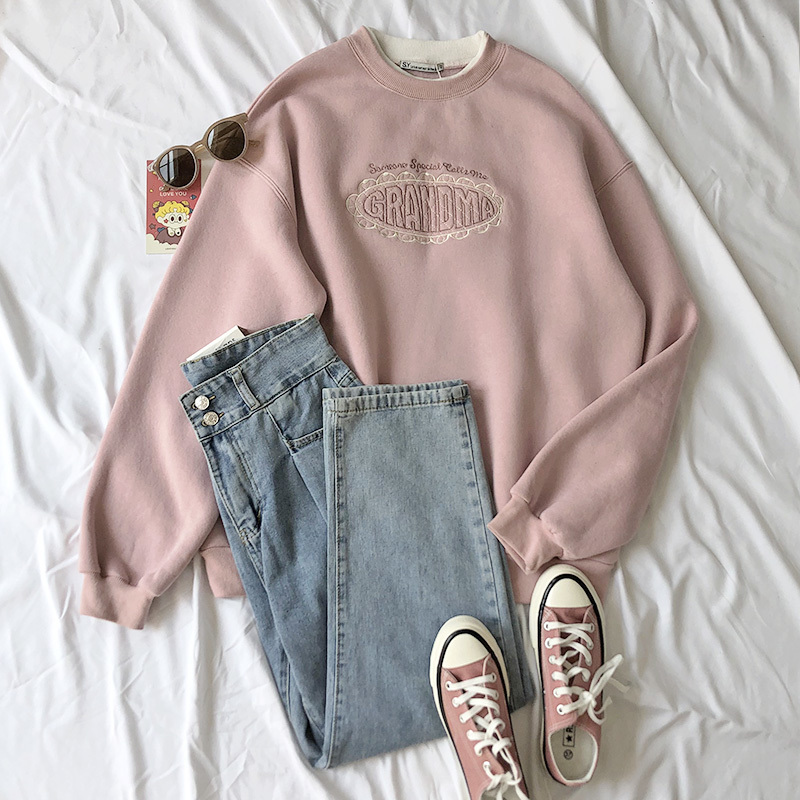 Mooirue Spring Women Pink Sweatshirt Letter Embroidery Thickening  2 In 1 Pullovers Tops