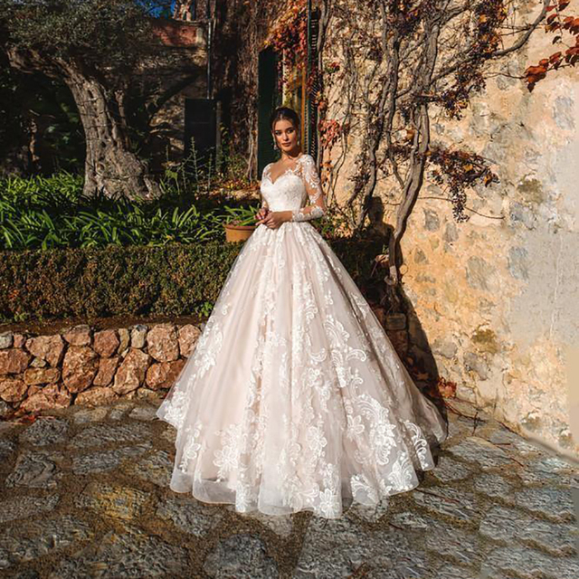 Luxury Pink A Line Wedding Dresses V neck Lace Appliques Illusion Long Sleeves Women Wedding Dress Plus Size Bridal Gown 4