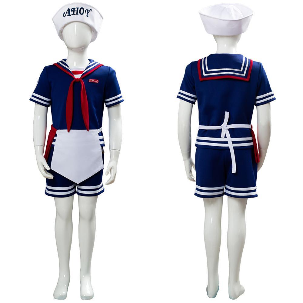 Enfants enfant étranger choses 3 Scoops Ahoy Steve Harrington Cosplay Costume robe uniforme travail marin Costume Halloween carnaval