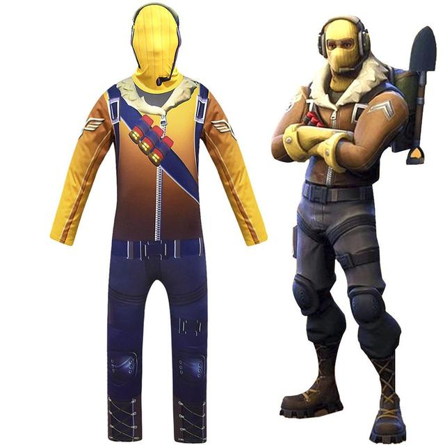 Game Kids Child Battle Royale Raptor Legend Skin Cosplay Costumes Royal Pilot Jumpsuits Zentai Mask Party Halloween Suit 1