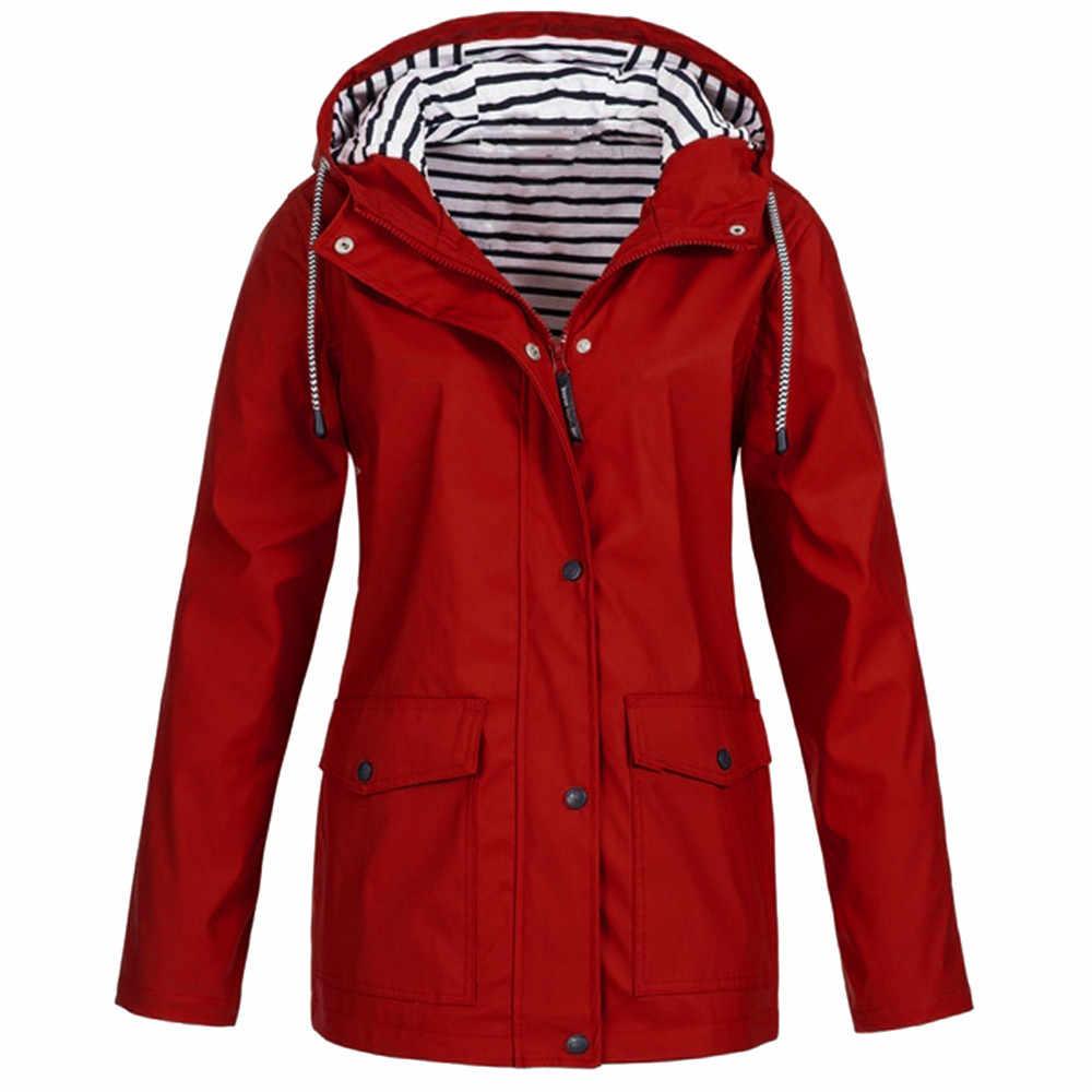 Wanita Solid Hujan Jaket Outdoor Hoodie Tahan Air Panjang Mantel Tahan Angin Ukuran Besar Panjang Hangat Berkerudung Jaket 2019 9.3