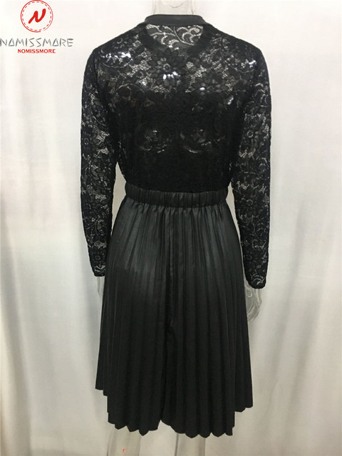 Sexy Women Spring Autumn A-Line Dress Patchwork Design Lace Decor See Through Stand Collar Long Sleeve Mid Waist Slim Dress 6