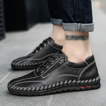 2019 Spring Autumn Casual Shoes Men Quality PU Leather handmade vintage Versatil
