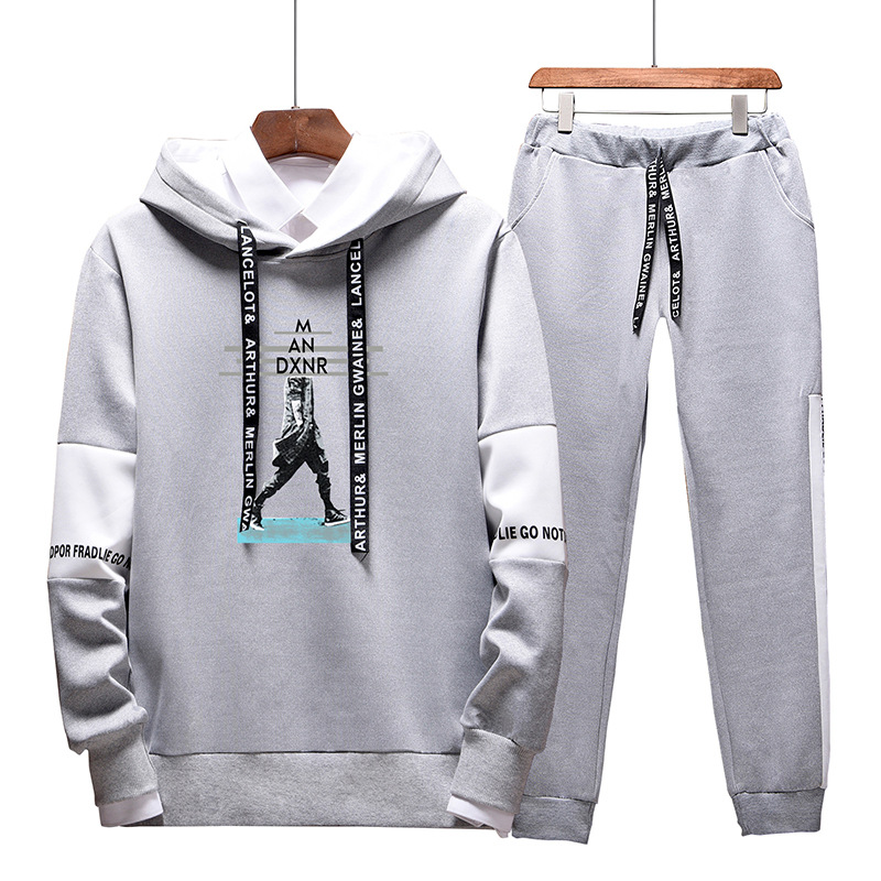 Hoodie Men Hooded Autumn Korean-style Trend Spring Clothing Leisure Sports Suit Spring And Autumn A Set Of Collocation Handsome