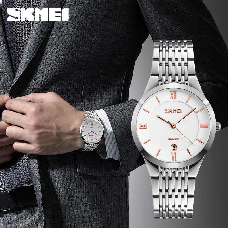 SKMEI kuvars çift saatleri basit 304 paslanmaz çelik kayış sevgilisi serisi kol saati tarih erkekler kadınlar saatler hediye horloges