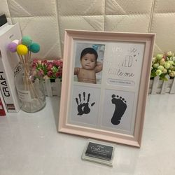 Newborn Hand and Foot Print Ornaments 12 Months Photo Frame with Craft Ink Pad Home Decoration Baby Kids Birthday Gift