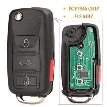 Kutery 4 Taste Remote Auto Schlüssel Für VW Phaeton Touareg 2002 2010 Mit PCF7946 Chip 315MHz