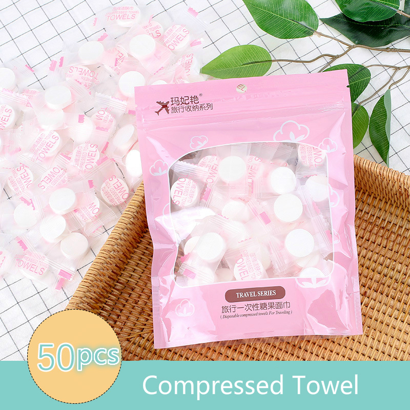 50PCS Compressed Towel Travel Disposable Cleansing Towel Makeup Beauty Non-woven Netted Wash Towel Cotton Pad 50 Capsules