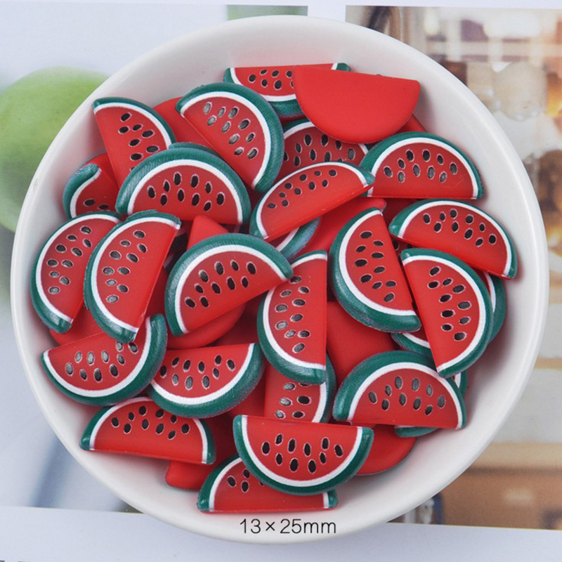 10 Pcs Flat Back Fruits Resin Watermelon Resins DIY Jewelry Hair Bows Clips Party Accessories Resin Cabochons Decoration