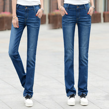 Lguc. H vaqueros rectos ajustados para mujer 2019 Jeans azules clásicos para mujer Push Up ropa Casual de moda para mujer Jeans para damas mujer 34 nuevo