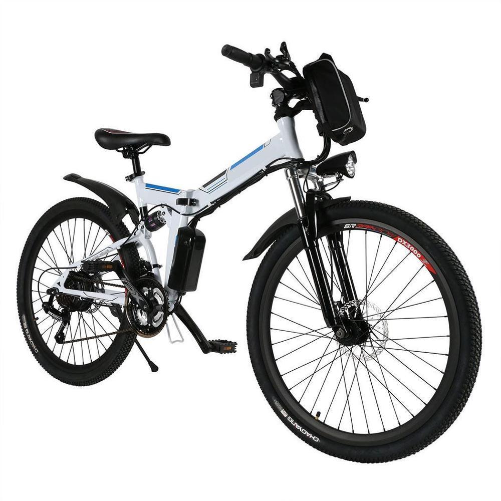 26 Inch Electric Bike Mountain Bicycle Full Suspension Alluminium Folding Frame 27 Speed  Mechanic Brake Wheel MTB Bicycle