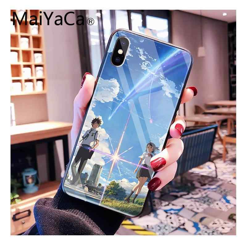 MaiYaCa יפני אנימה שלך שם קימי לא לnawa מזג זכוכית שחור PhoneCase iPhoneXR XSMAX X 7 8 6S בתוספת 11 11Pro 11Pro מקסימום