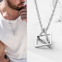 2021 New Fashion Square Triangle Male Pendant Men Stainless Steel Modern Trendy Geometric Staking Streetwear Necklace Jewelry