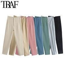 TRAF-Pantalones elegantes de moda con costura para Mujer, ropa de oficina Vintage de cintura alta con cremallera, tobilleros para Mujer