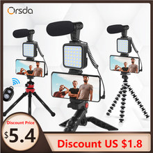 Orsda MT01-MT04 Dslr Slr Telefoon Vlog Statief Hot Shoe Telefoon Houder, voor Mini Statief Met Afstandsbediening Microfoon Led Licht