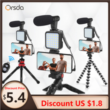 Shoe-Phone-Holder Microphone Vlog-Tripod Led-Light DSLR Orsda for Mini with Remote-Control