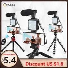 Orsda MT01-MT04 DSLR SLR 전화 Vlog 삼각대 핫슈 폰 홀더, 원격 제어 마이크가있는 미니 삼각대 용