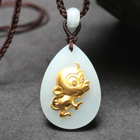 Natural Chinese Hetian White Jade Pendant Zodiac Monkey Mosaic Gold Beautiful Jewelry Necklace Carved Fashion Charm Amulet Gifts