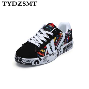 TYDZSMT 2020 letnie damskie sneakersy białe buty na co dzień miłośników drukowania mody płaskie damskie buty wulkanizowane zapatos de mujer tanie i dobre opinie Mesh (air mesh) Wiosna jesień Dla dorosłych Niska (1 cm-3 cm) Pasuje prawda na wymiar weź swój normalny rozmiar Lace-up