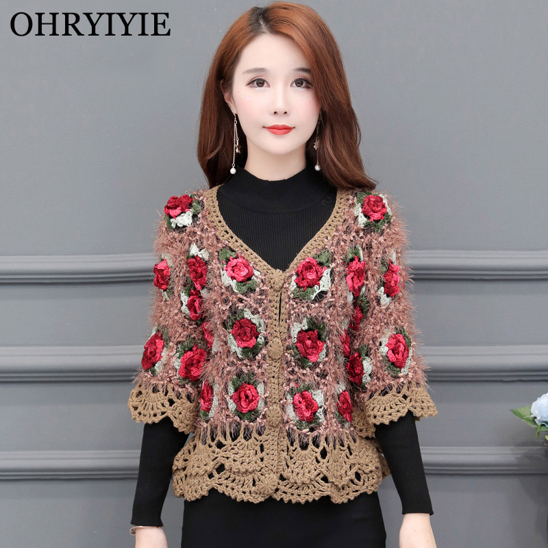 OHRYIYIE Floral Embroidery Single Breasted Cardigan Women 2020 Spring Summer Casual Knitted Sweater Ladies Hollow Tricot Sweater