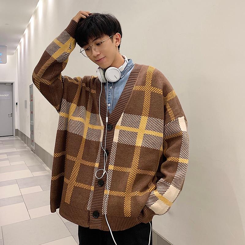 Зимний мужской кардиган, теплый модный ретро повседневный вязаный клетчатый свитер, Мужская Уличная одежда, свободный свитер, пальто, мужская одежда - Цвет: Coffee