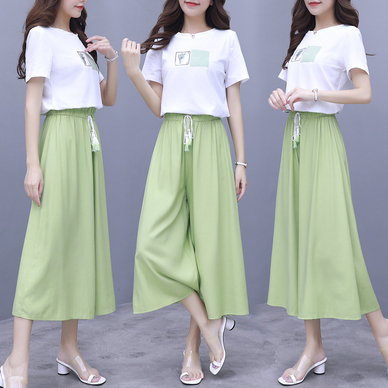 Avocado Green WOMEN'S Suit 2019 New Style Summer Fashion Mustard Online Celebrity Pendant Sense Loose Pants Two-Piece Set Wester