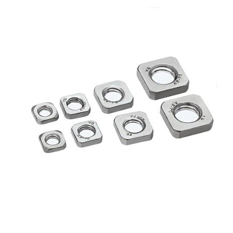 Porca fina m3 m4 m5 m6 m8, 20-50 peças din562 de aço inoxidável nozes quadradas