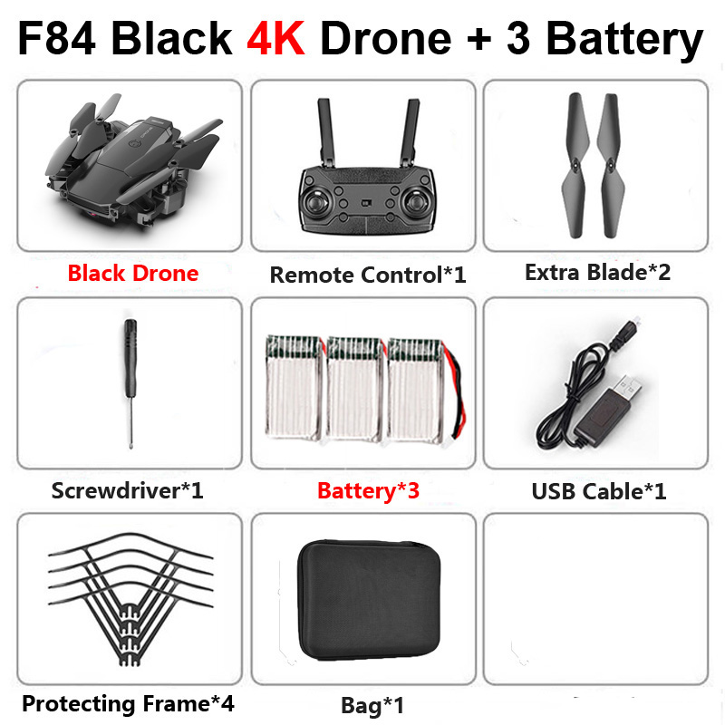 F84 RC Drone with 4K HD Camera Follow Me Altitude Holding Wide Angle WiFi FPV Foldable Professional Helicopter Quadrocopter Toys