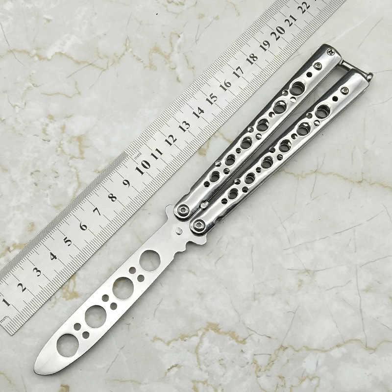Новый Радужный цвет 3Cr13Mov нож из нержавеющей стали бабочка тренировочный нож Открытый нож для соревнований нож тупой инструмент без лезвия