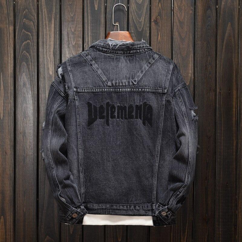 Мужская модная джинсовая куртка-бомбер наивысшего качества, хлопковая верхняя одежда, мужская Ковбойская хип-хоп куртка, трендовая брендов...