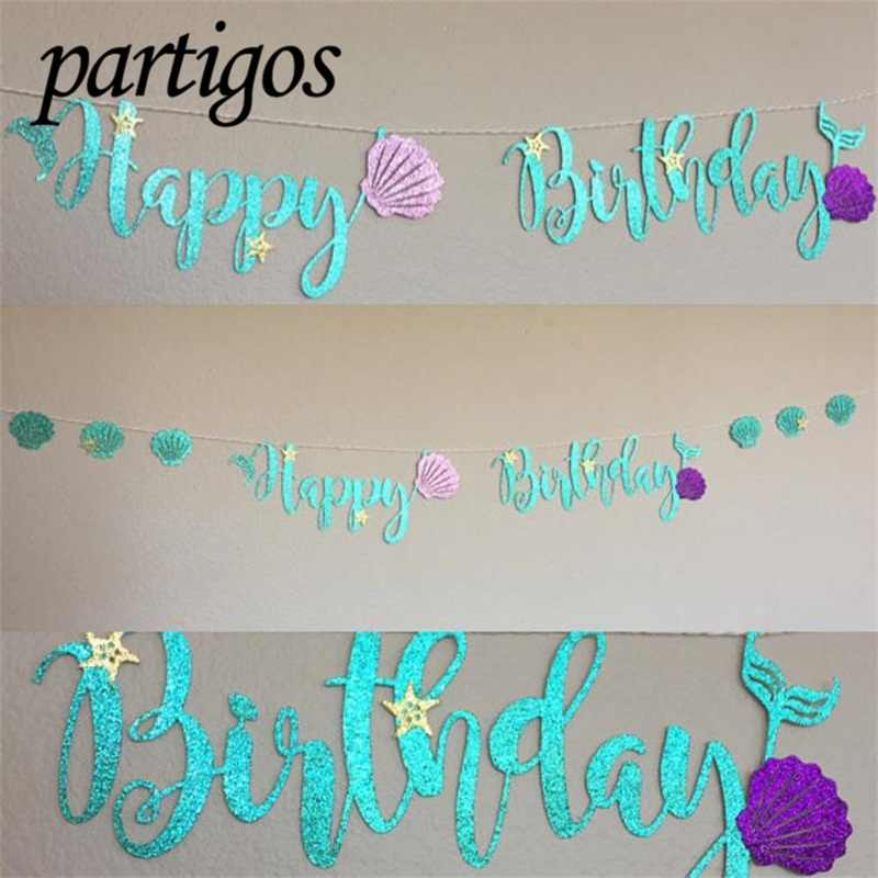 1set Mermaid Glitter Banner Cardboard Blue Letter Garland HAPPY BIRTHDAY Purple Shell Banner Ocean Birthday Party Decoration