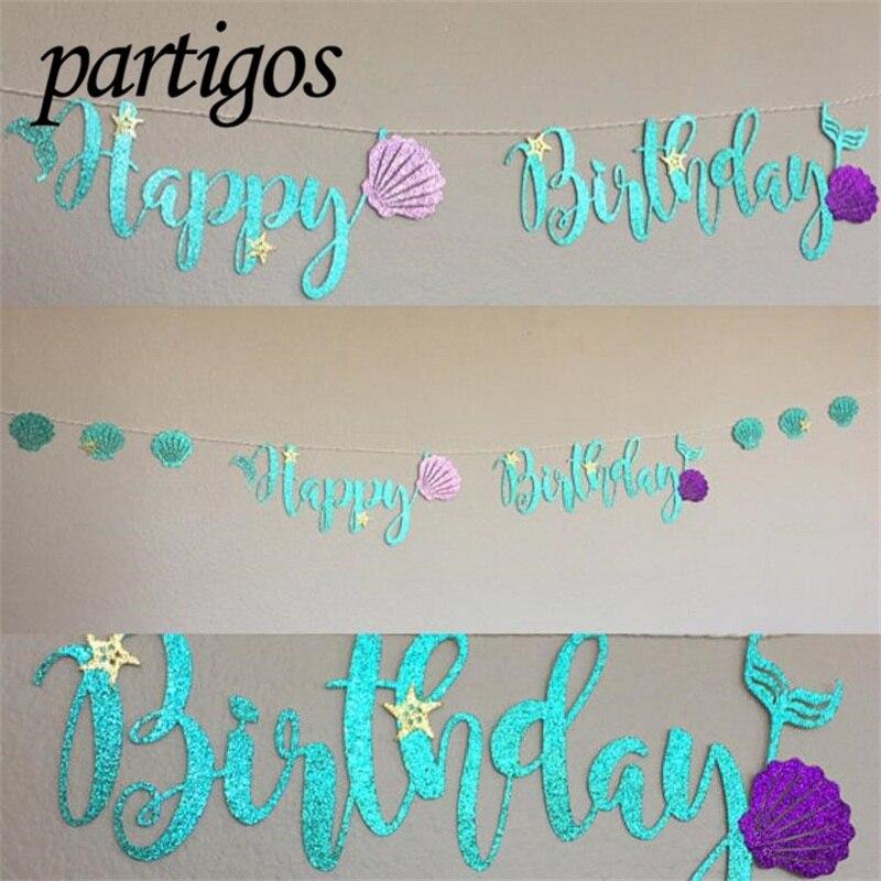 1set Mermaid Glitter Banner Cardboard Blue Letter Garland HAPPY BIRTHDAY Purple Shell Banner Ocean Birthday Party Decoration