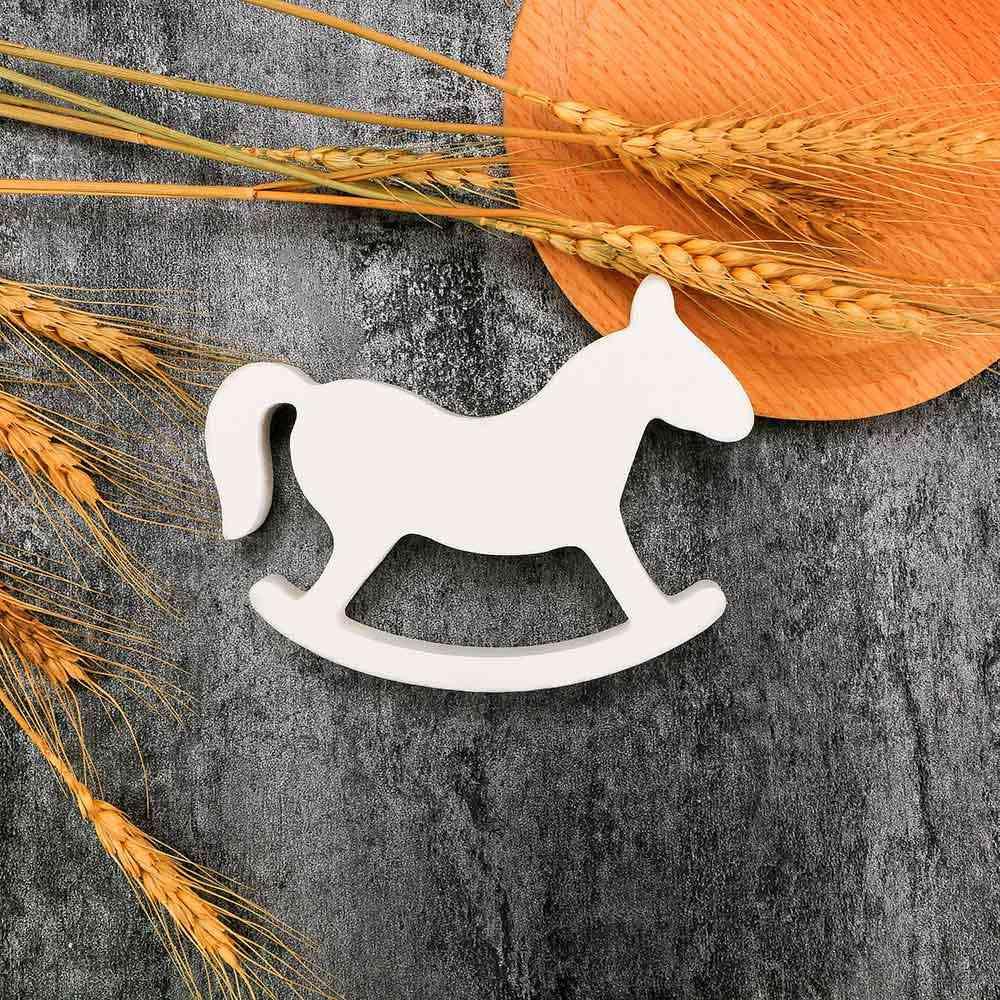 التماثيل و المنمنمات الأبيض خشبي هزاز حصان طروادة الزفاف حلية ديكور المنزل الحرف الاطفال اللعب انخفاض الشحن