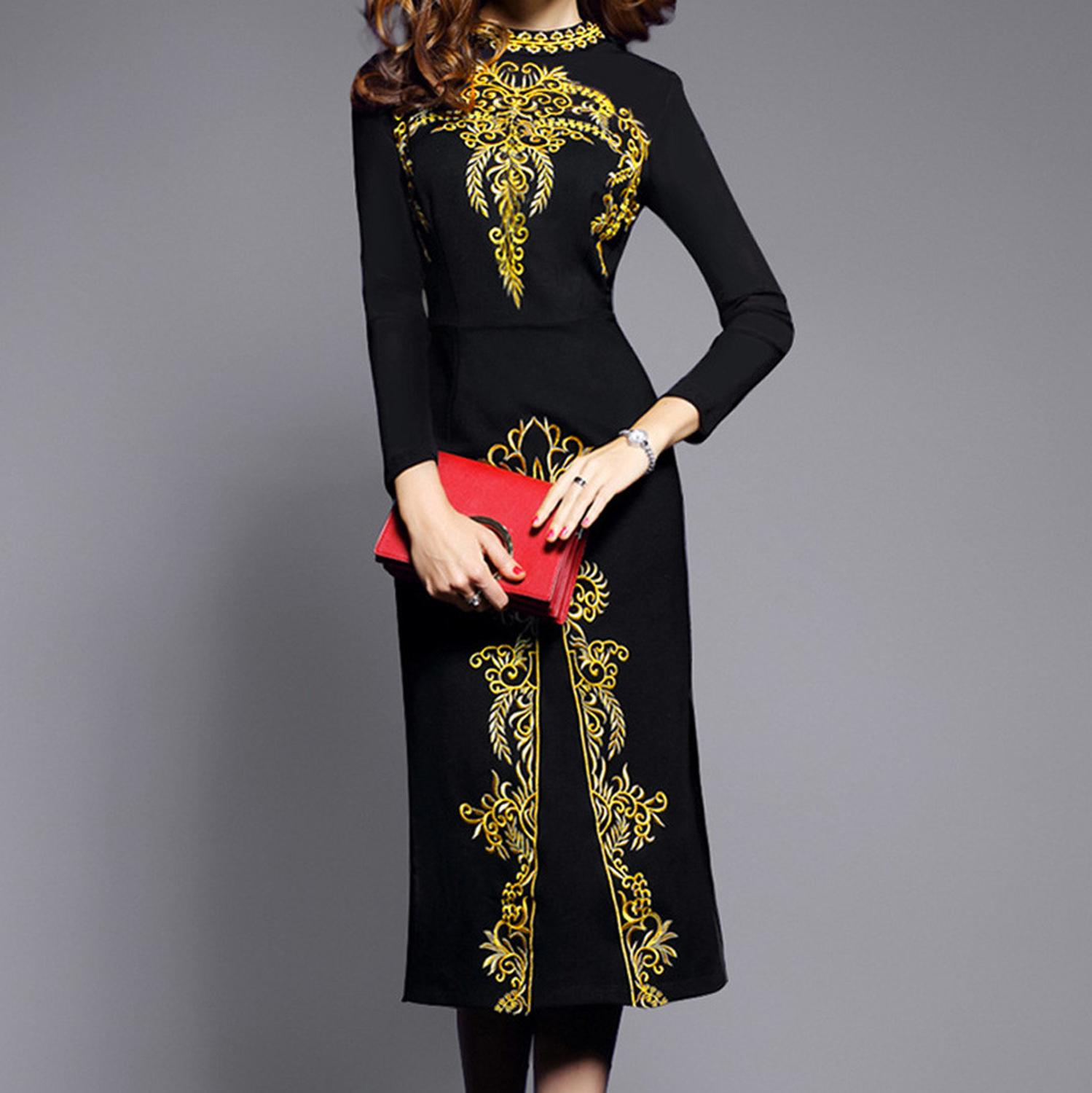 China Folk-custom Classical Dresses Women Elegant Black O-neck Zipper Long Sleeve Mid-Calf Dress 2020 New Spring Dress