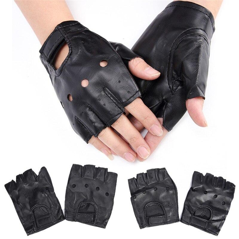 1 Pair Women Men Fashion Punk Gloves Unisex Black PU Leather Fingerless Gloves Solid Female Half Finger Driving Gloves