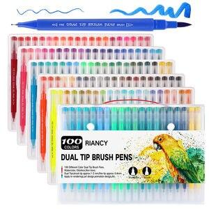 Набор цветных фломастеров Fineliner с двойным наконечником, акварельные художественные маркеры, цветные ручки с двойной головкой