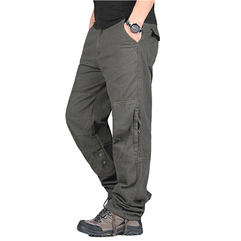 Men Casual Cargo Pants Spring Autumn Streetwear Military Long Trousers Cotton Army Straight Slacks Joggers Male Tactical Pants